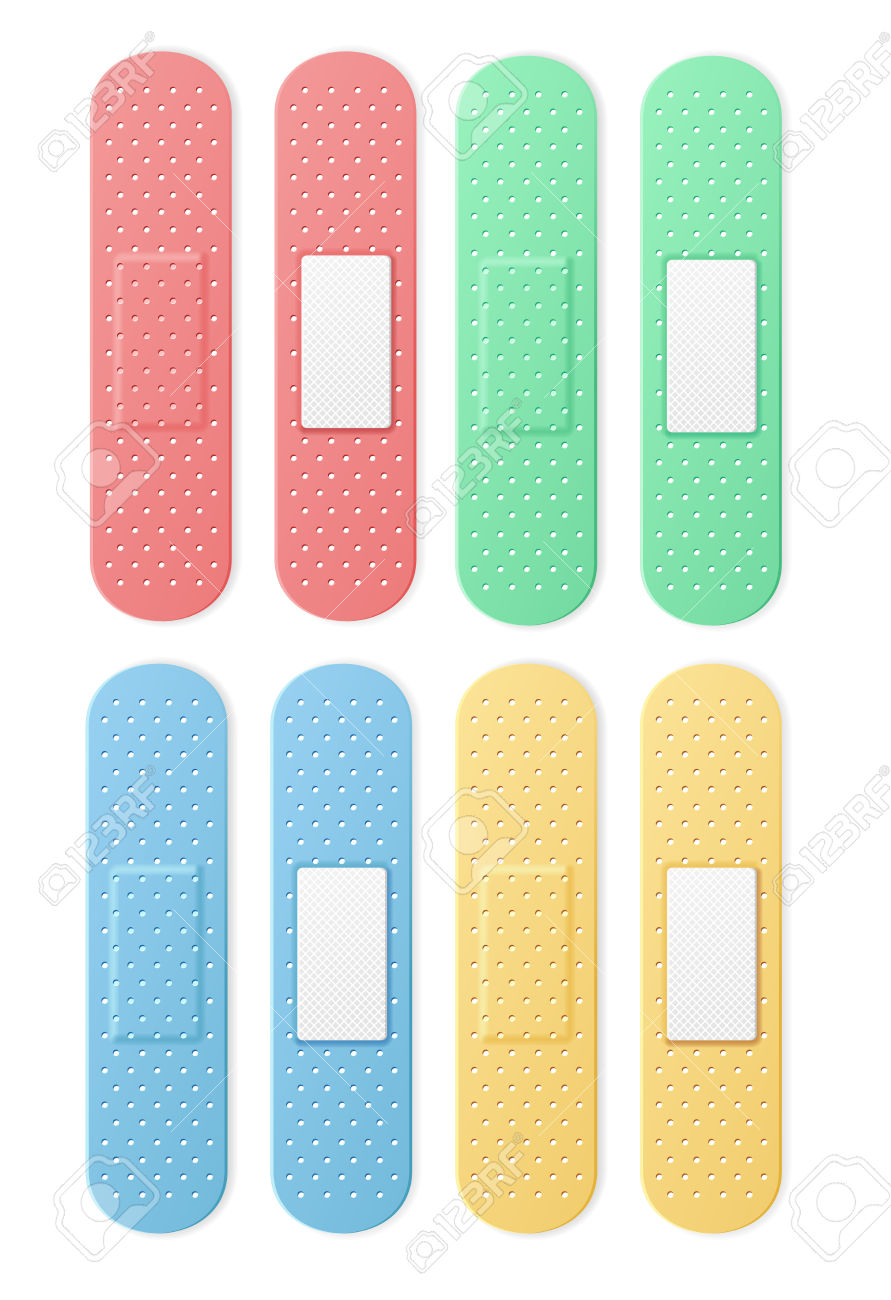 Aid Band Plaster Strip Medical Patch Set Color. Vector.