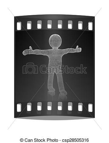 Clipart of 3d man. Medical icon. The film strip.