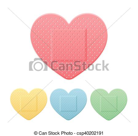 EPS Vectors of Aid Band Plaster Strip Medical Patch Heart Color.
