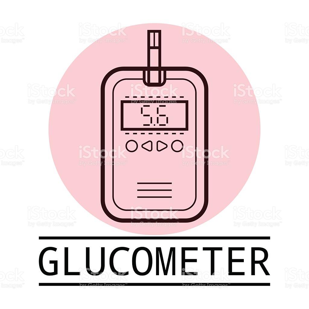 Glucometer Test Strip Label Flat Icon Medical Equipment Diabetes.