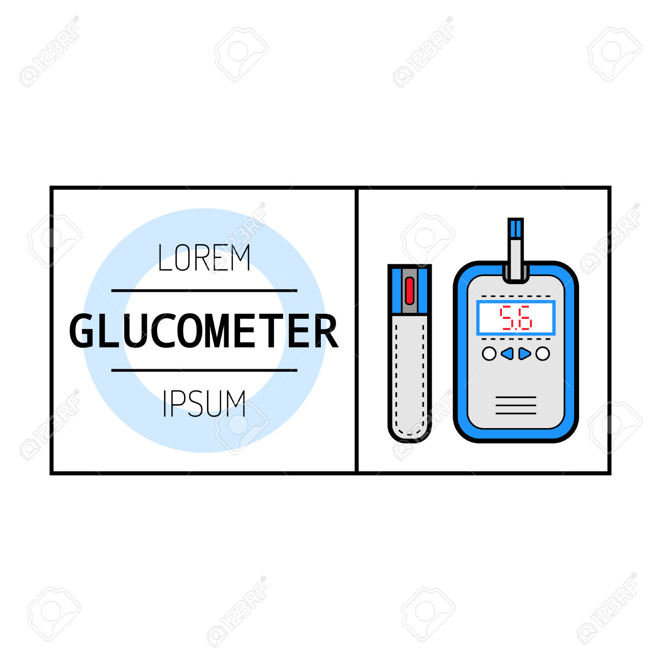 Glucometer And Test Strip For Determination Of Glucose. Label.