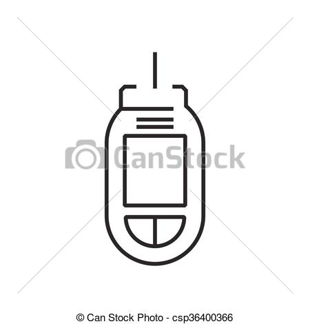 Clip Art Vector of line icon Medical Device Icon, Diabetes Flat.