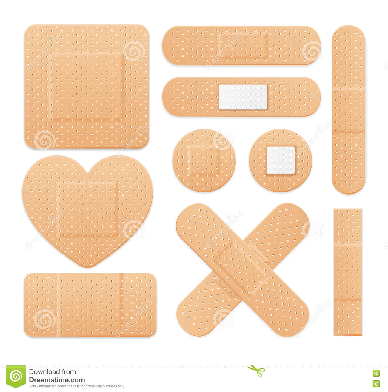 Aid Band Plaster Strip Medical Patch Set. Vector Stock Vector.