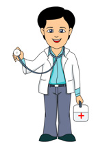 Medical student in school animated clipart.