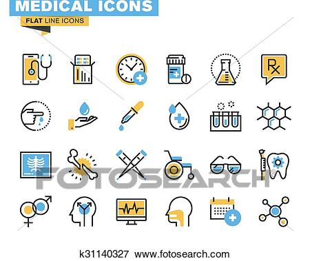 Flat design medical supplies icons Clip Art.