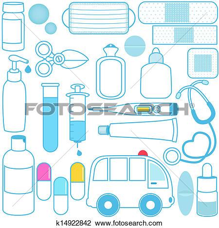 Clip Art of Medicines, Pills, Medical Equipment k14915236.