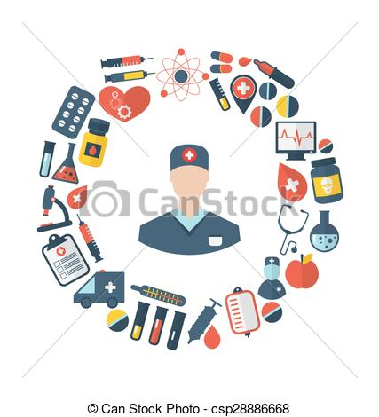 Clip Art Vector of Doctor and Medical Equipment and Objects.