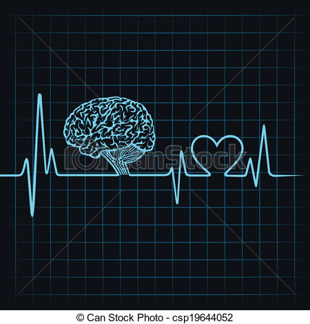 Clipart Vector of Medical technology concept, heartbeat make a.