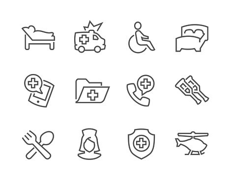 Lined Medical Transportation Icons Clipart Image.