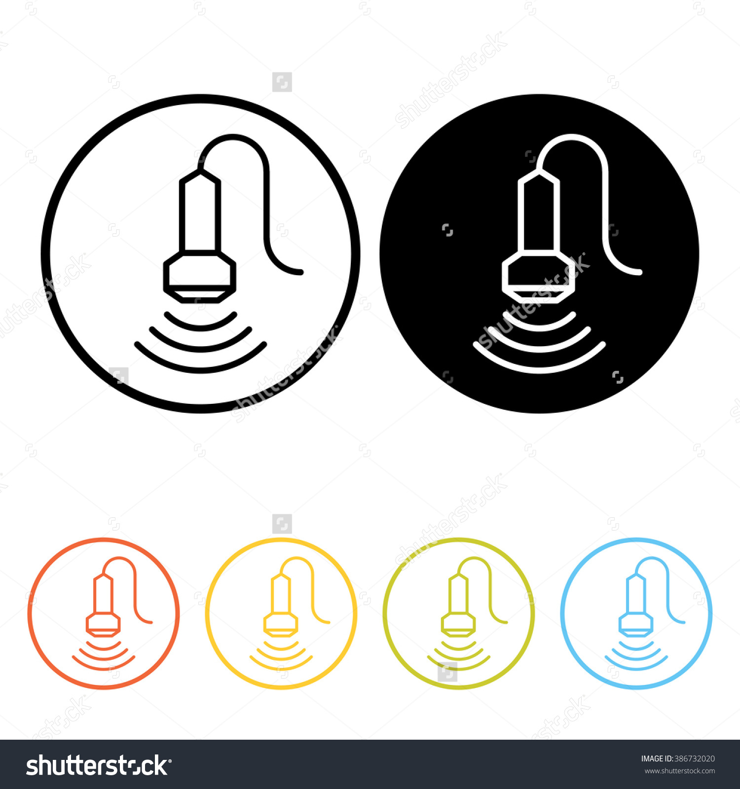 Medical Ultrasound Pictogram Thin Line Icons Stock Vector.