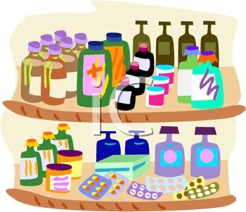 Clip Art Illustration of Bottles of Prescription Medications On a.