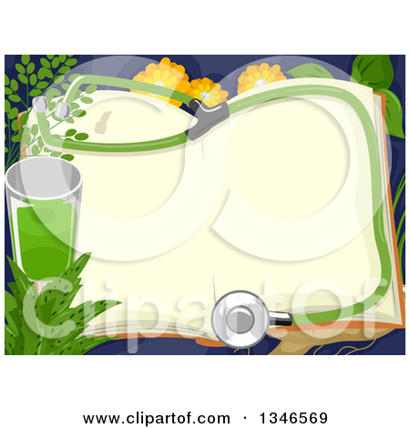 Clipart of a Open Book with a Stethoscope, Green Juice and.