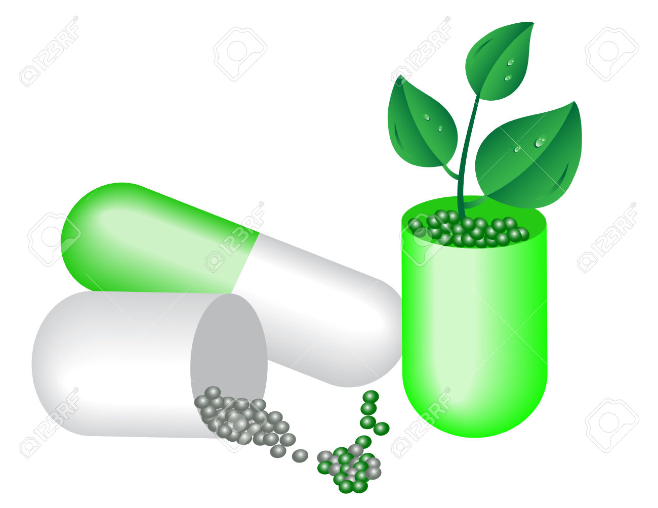 Capsule Of Medicine And Young Plants. Royalty Free Cliparts.
