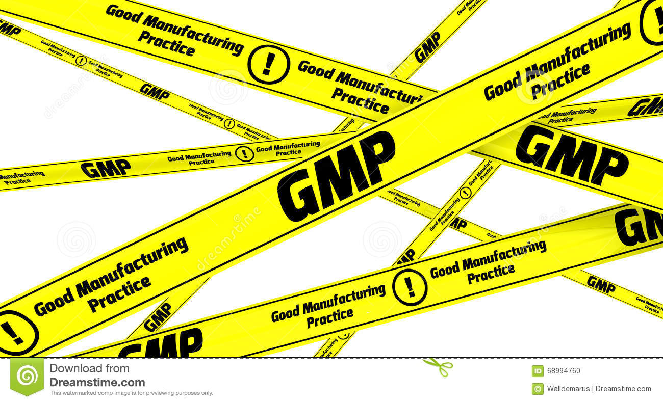 GMP. Good Manufacturing Practice For Medicinal Products. Yellow.