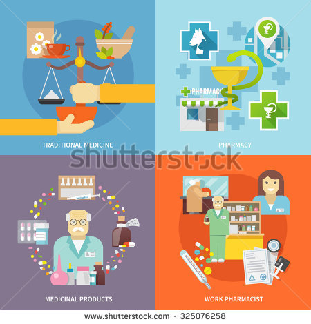 Pharmacist Design Concept Set With Traditional Medicine And.