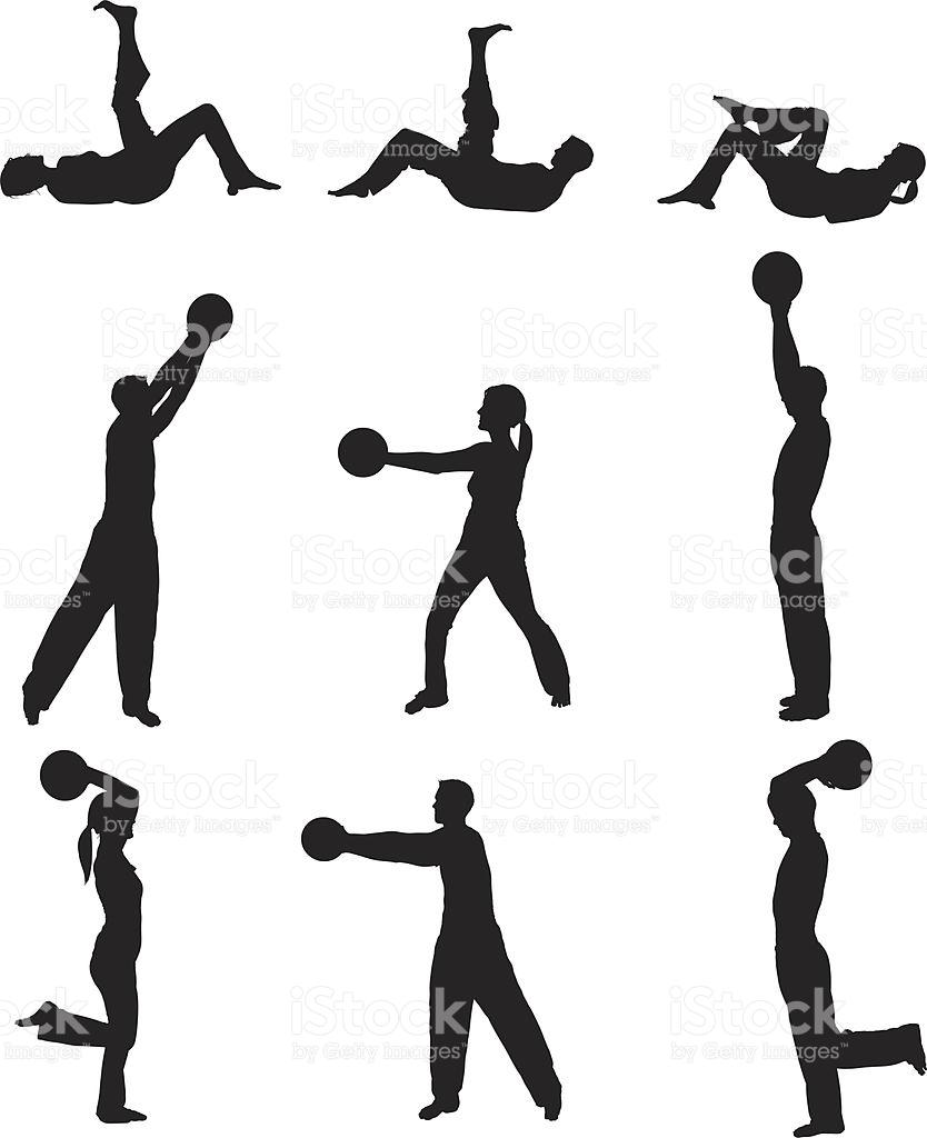Men And Women Exercising With Medicine Ball stock vector art.