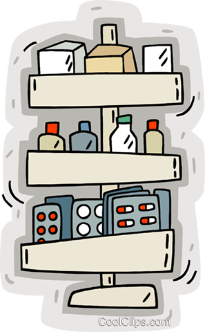 medicine cabinet Royalty Free Vector Clip Art illustration.