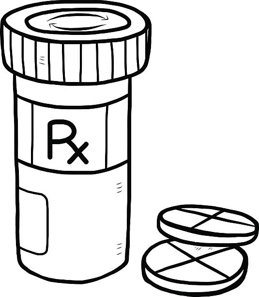 Best Black And White Cartoon Medical Pills Illustrations.