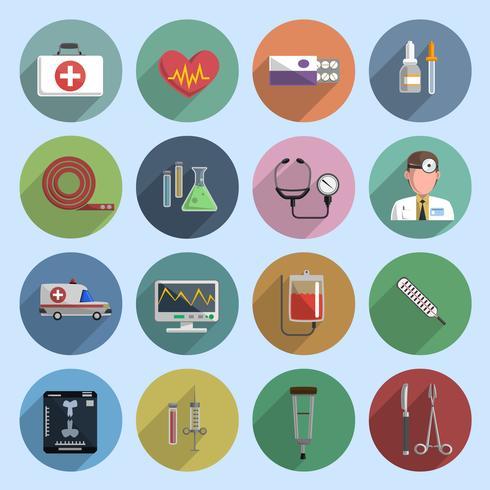 Multicolored medicine icon flat.