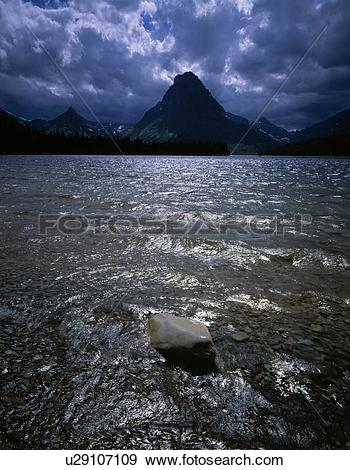 Stock Photograph of Mount Sinopah, Two Medicine Lake, Glacier.