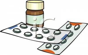 Pill Bottle and Two Packs of Medicine Clip Art Image.