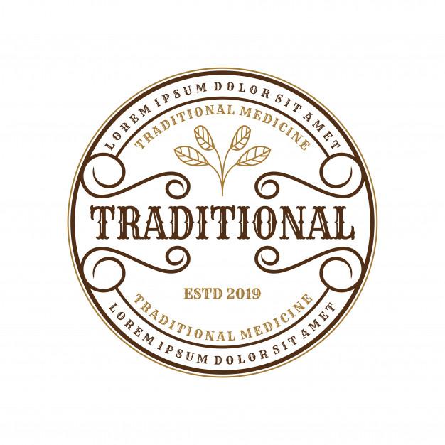 Vintage logo for traditional medicines for brand label.