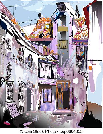 Clipart Vector of Medieval European Old Town. Collec.