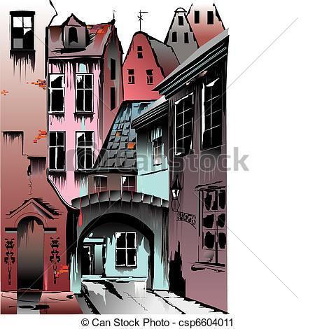 Vector Clip Art of Medieval European city. Collective.