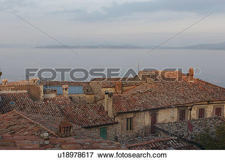 Picture of View of roof tops of Umbrian medieval village with.