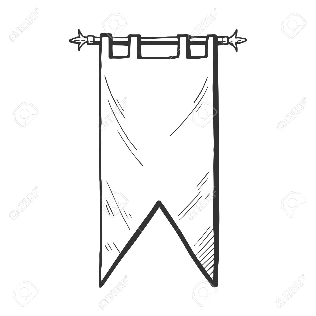 Vector medieval banner or flag icon. Middle age hand drawn illustration...