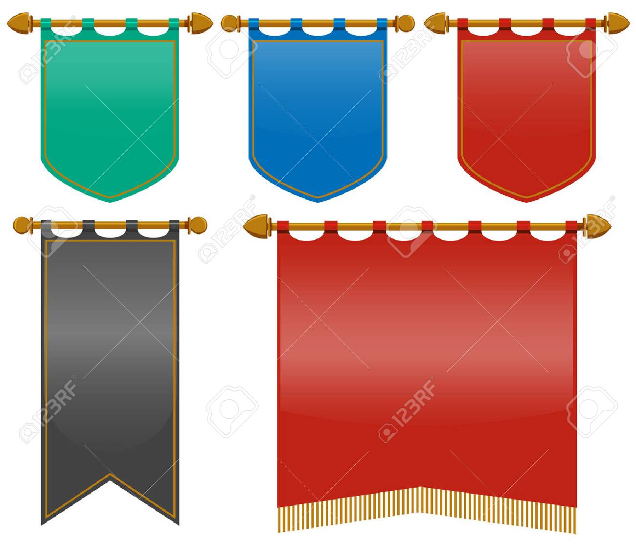 Medieval flags in different colors illustration.