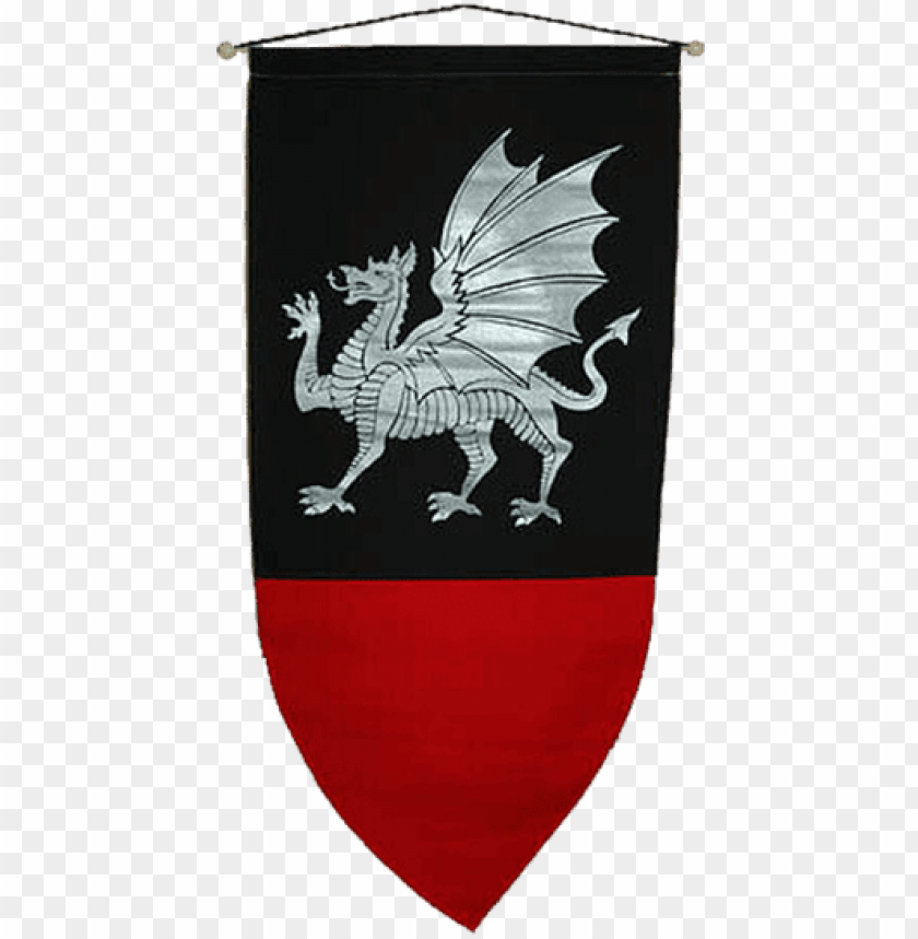 medieval dragon banner PNG image with transparent background.