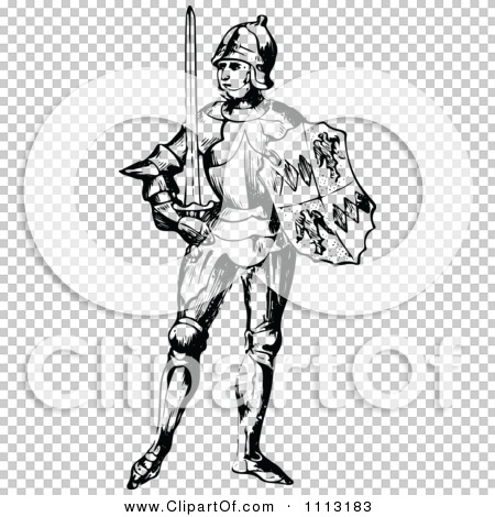 Clipart Vintage Black And White Medieval Knight On With A Shield.