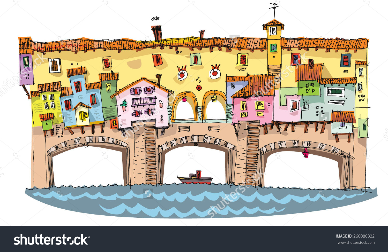 Medieval Bridge With Buildings On It.