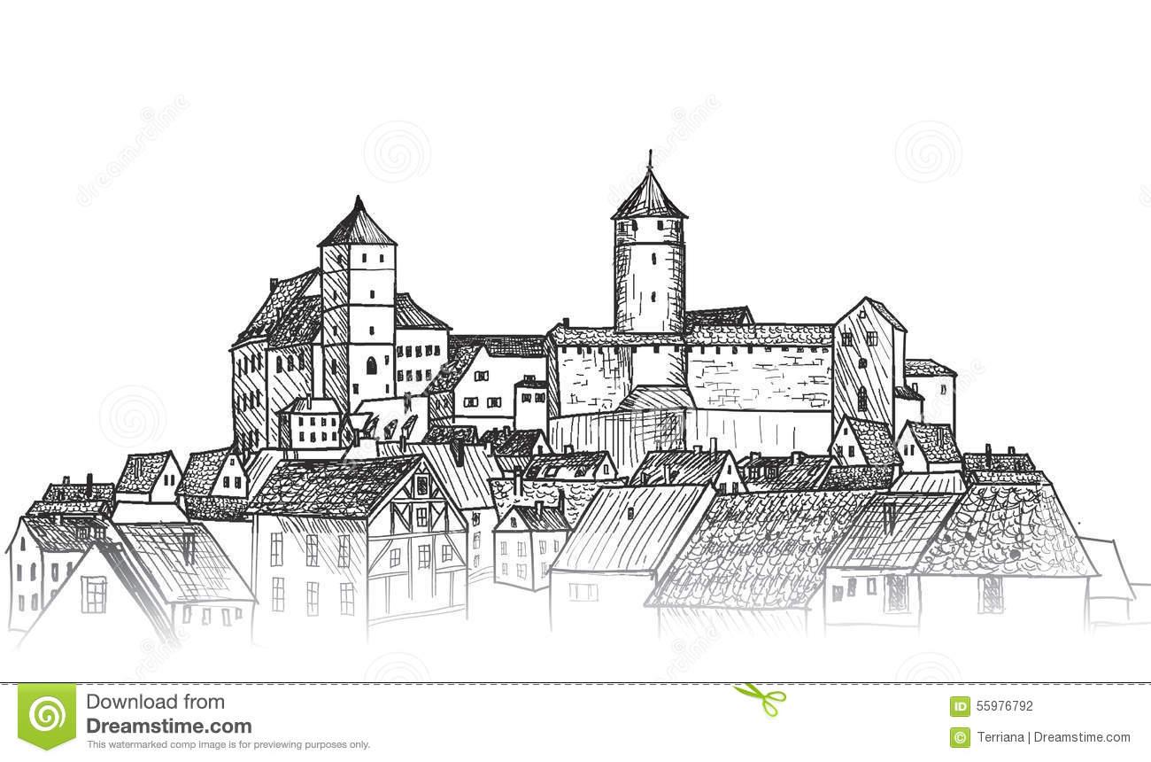 Old City. Downtown View. Medieval European Castle Landscape. Pen.