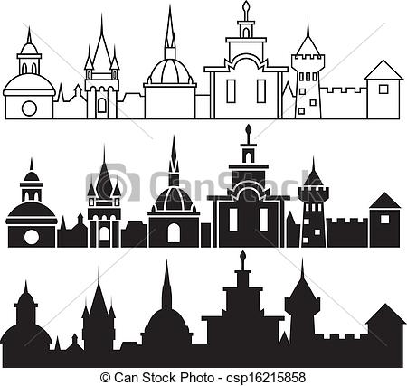 Medieval town icon clipart.