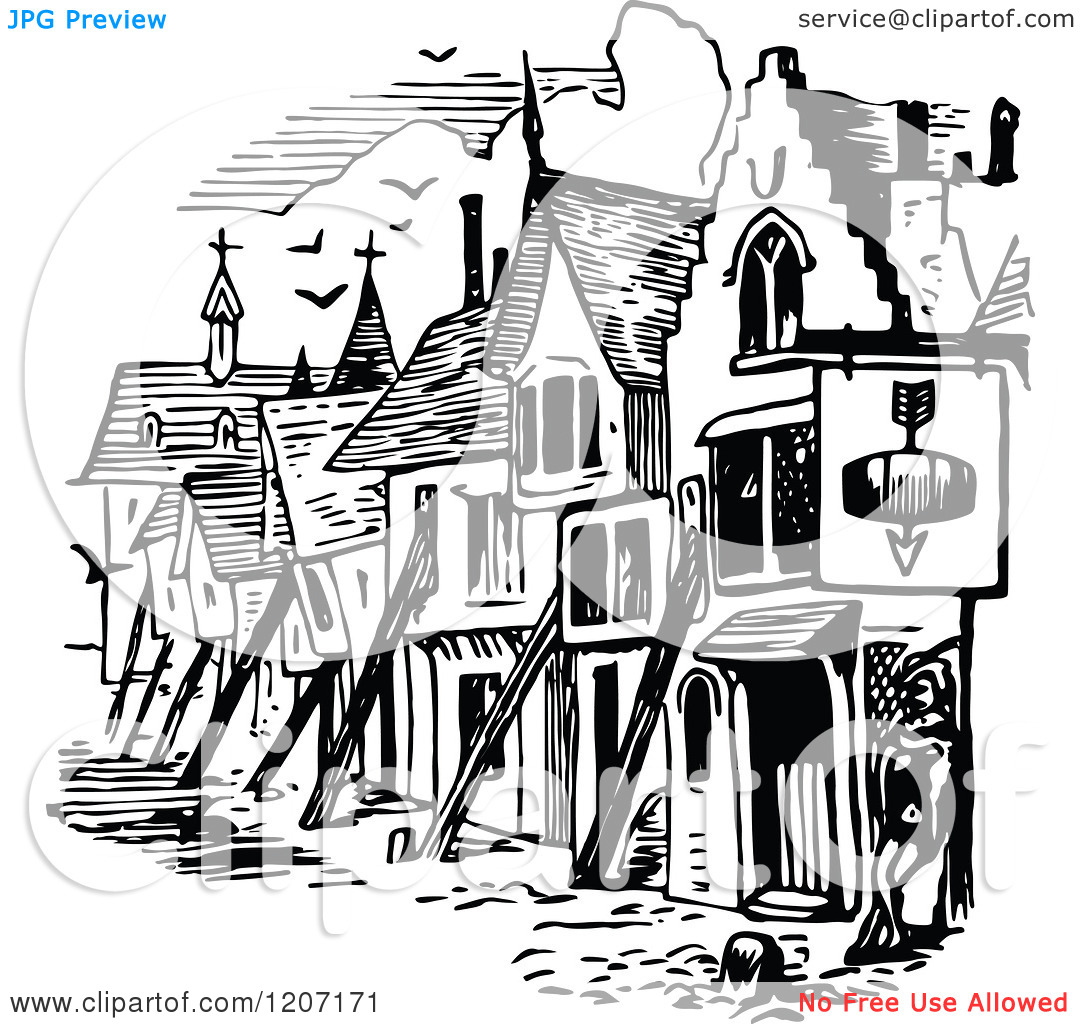 Clipart of a Vintage Black and White Man and Medieval Houses.