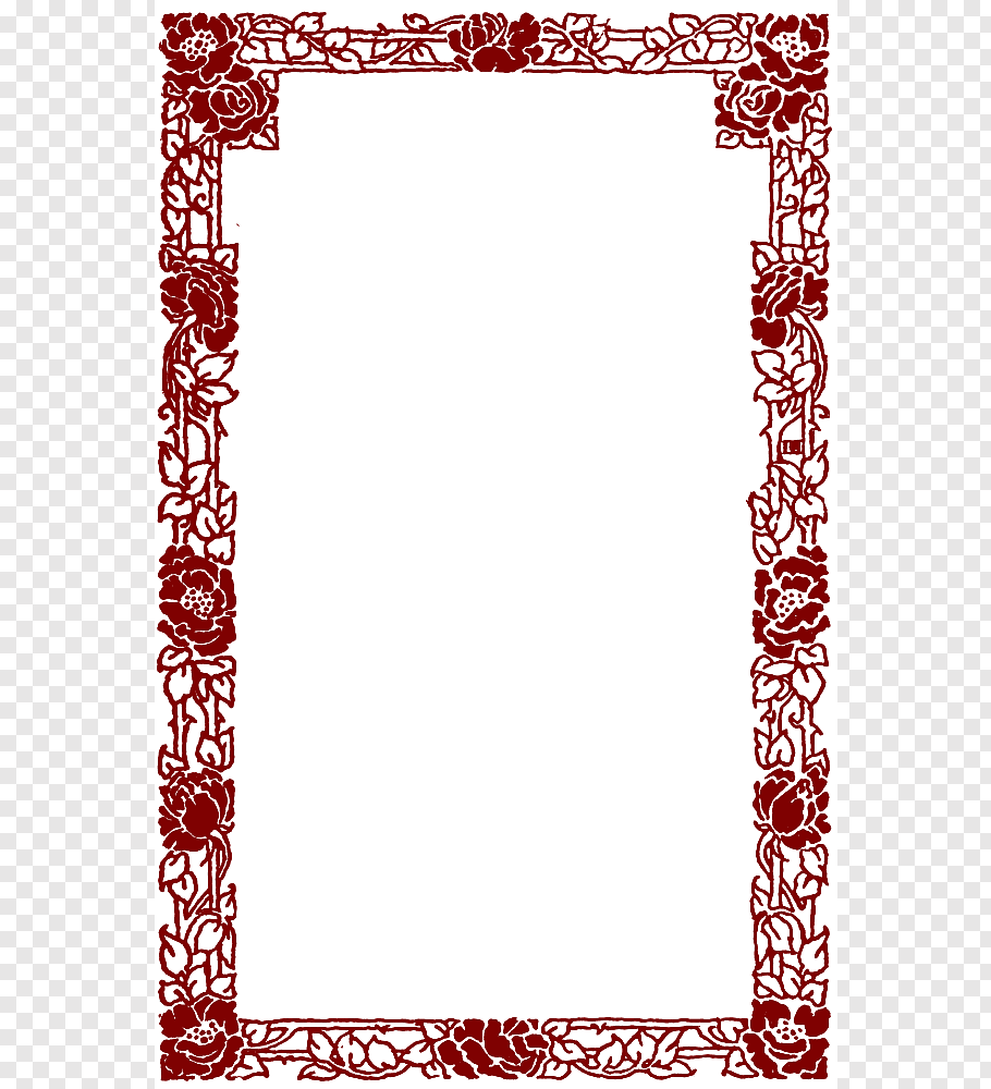 Rectangular red floral frame art, Late Middle Ages.
