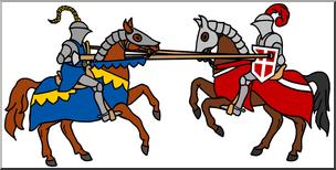 Clip Art: Medieval History: Joust Color I abcteach.com.