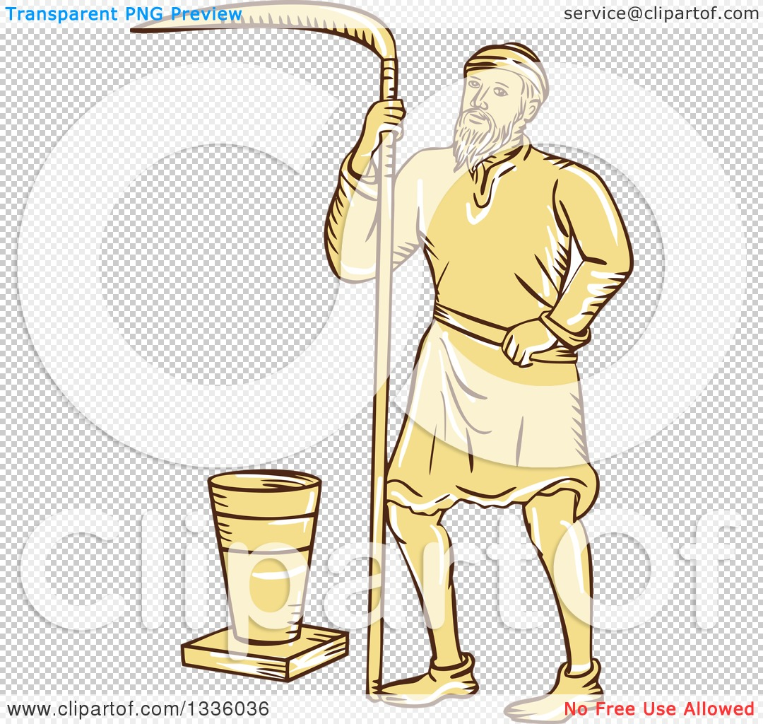 Clipart of a Retro Sketched or Engraved Medieval Male Farmer with.