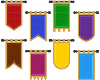Medieval Banner Flags Clip Art for Scrapbooking Card Making.