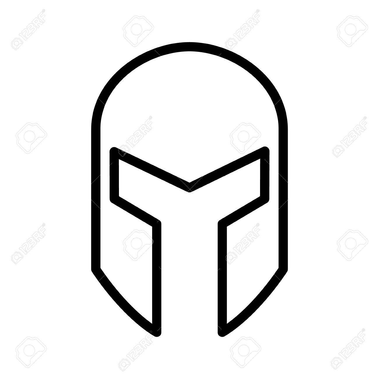 Medieval gladiatorial helmet headgear line art icon for games...