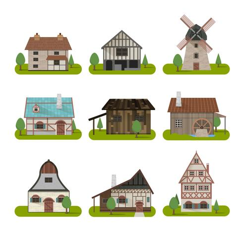 Medieval Ancient Buildings Set.