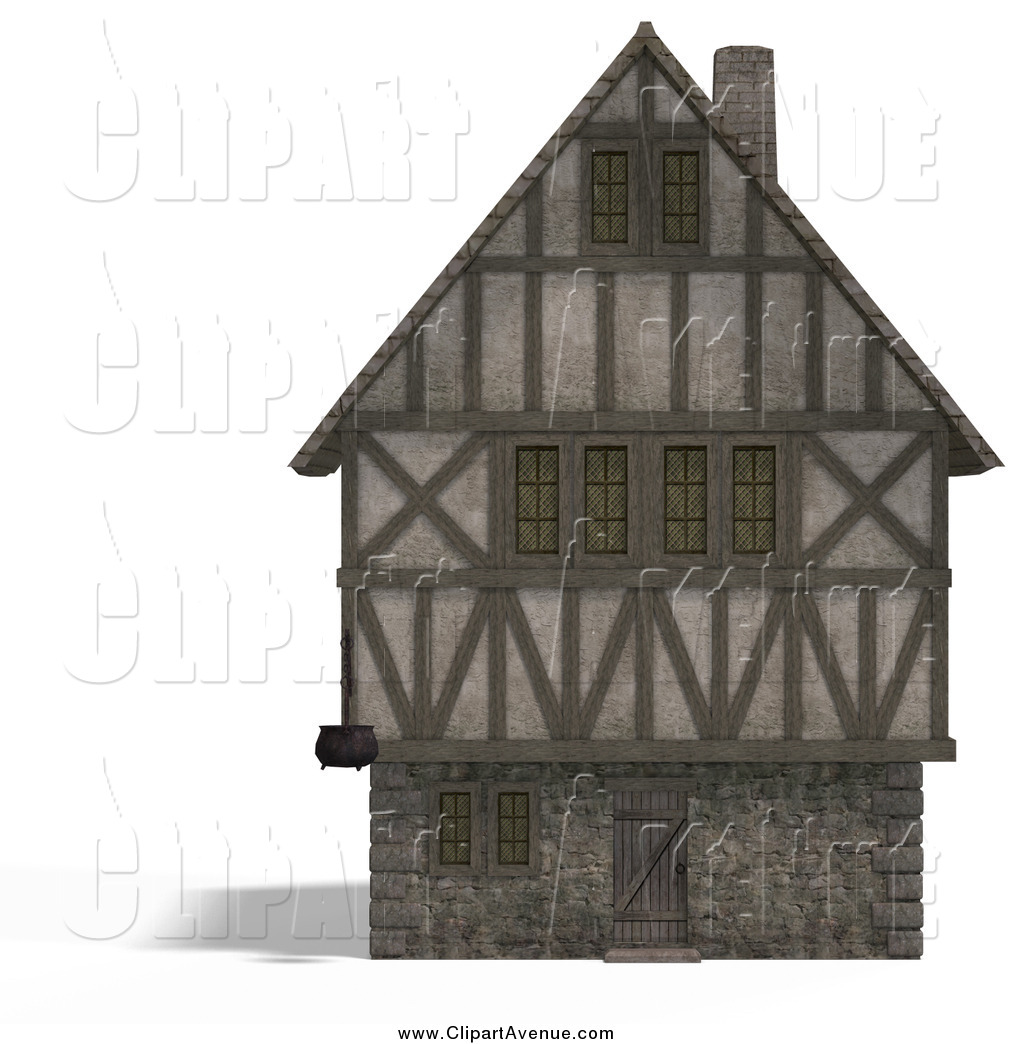 Avenue Clipart of a 3d Medieval House by Ralf61.