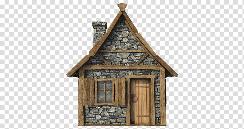 Medieval Hut A , brown and gray house transparent background.