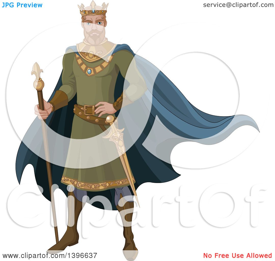 Clipart of a Fairy Tale Medieval Blond Caucasian King.