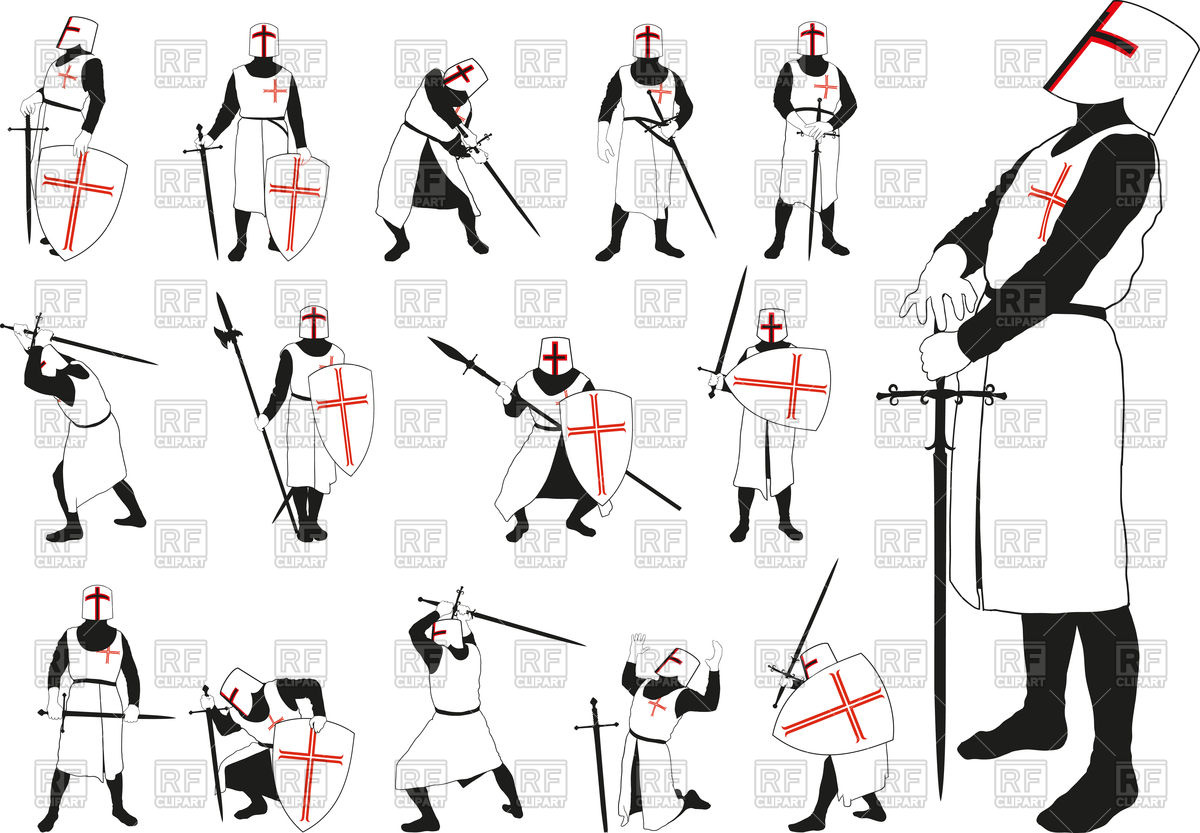 Medieval knight in armor and helmet in different positions Stock Vector  Image.