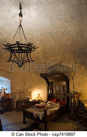 Stock Illustrations of Medieval interior, detail from the Golden.