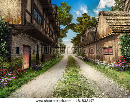 Medieval Village Stock Photos, Royalty.