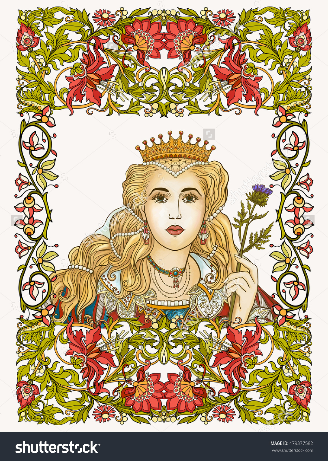 Medieval Queen On Floral Frame Vector Stock Vector 479377582.